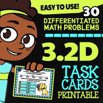 3.2D Math ★ COMPARING NUMBERS ★ Math TEK 3.2D ★ 3rd Grade STAAR Math Task Cards