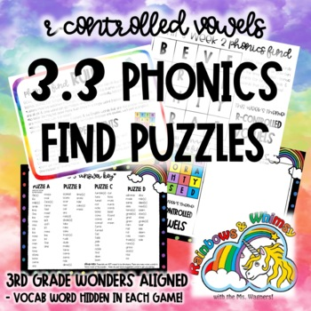 3.3 Phonics Find for R-Controlled Vowels (aligned to 3rd Grade Wonders 3.3)