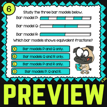 3.3G: Equivalent Fractions with Models ★ STAAR Task Cards ★ TEKS 3rd Grade Math