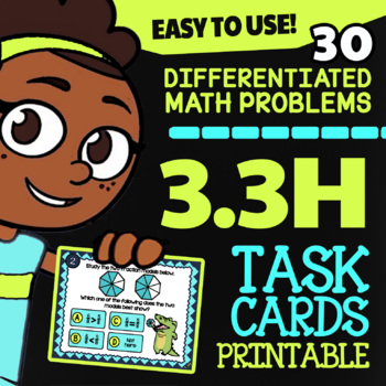 3.3H Math ★ COMPARING FRACTIONS ★ Math TEK 33H ★ 3rd Grade STAAR Math Task Cards