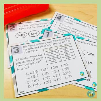 3.3H Comparing fractions task cards {STAAR test prep}