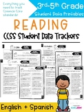 3/4/5 Common Core Reading Student Data Tracking Sheets | English and Spanish