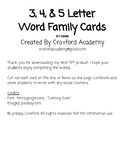 3, 4, & 5 Letter Word Family Cards
