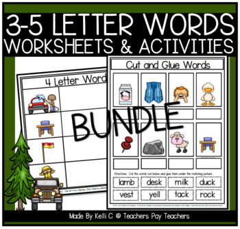 3, 4, 5, and 6 Letter Word Flashcards and Word Mats BUNDLE