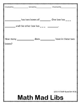 """3.4(A) Addition/Subtraction """"Mad Libs"""" for Stations"""
