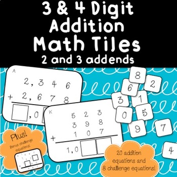 3 & 4 Digit Addition Tiles