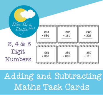 3 & 4 Digit Addition and Subtraction Task Cards
