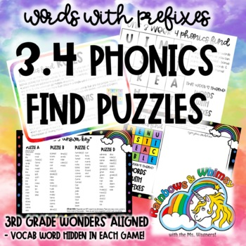 3.4 Phonics Find for Prefixes (aligned to 3rd Grade Wonders 3.4)