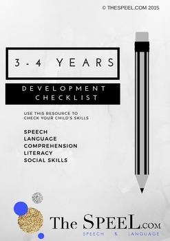 3-4 Years Developmental Expectation Checklist - Speech Pathology