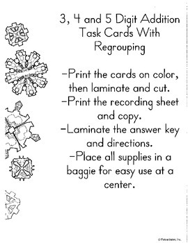 3, 4 and 5 Digit Addition Task Cards With Regrouping