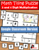 3 & 4 digits by 1 digit - Multiplication Tiling Puzzle -FR