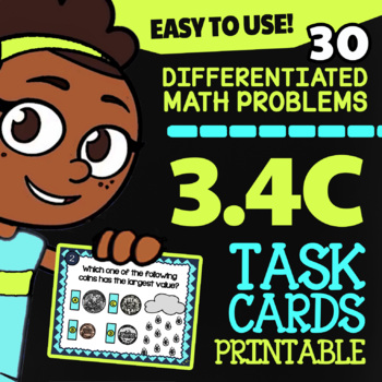 3.4C Math ★ COUNTING MONEY ★ Math TEK 3.4C ★ 3rd Grade STAAR Math Task Cards