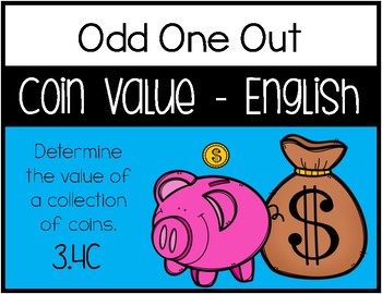 3.4C - Odd One Out - Coin Value/Counting Money - English