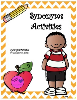 Synonyms Activities Task Cards, Practice Worksheets, and Assessment