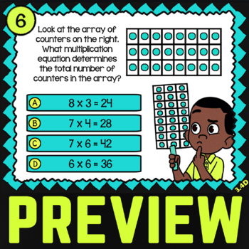 3.4D: Multiplication with Arrays ★ 3rd Grade TEKS Task Cards ★ STAAR Math Review