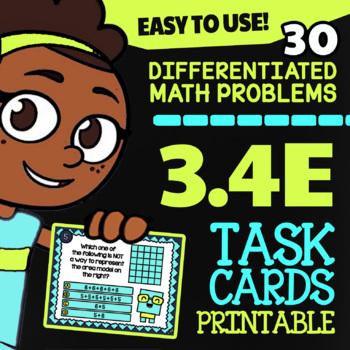 Math TEK 3.4E ★ Multiplication with Models ★ 3rd Grade Task Cards