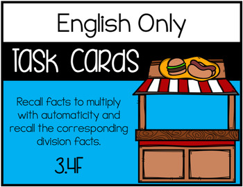 3.4F Recalling Facts to Multiply and Corresponding Division Facts - ENGLISH ONLY