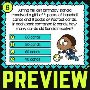 3.4G: 1 & 2 Digit Multiplication ★ 3rd Grade TEKS Task Cards ★ STAAR Math Review