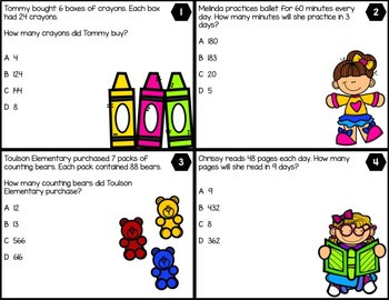 3.4G Multiplying 2-digit number by 1-digit numbers - ENGLISH AND SPANISH BUNDLE