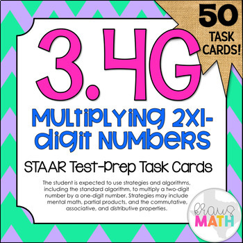 3.4G: Multiplying By 1-Digit #'s STAAR Test-Prep Task Card