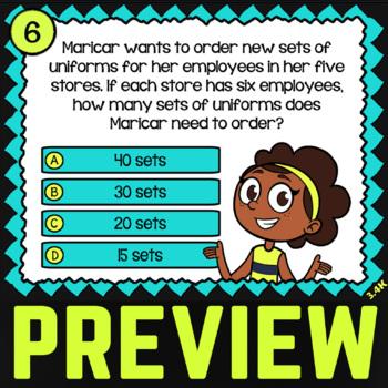 Math TEK 3.4K ★ Multiplication & Division With Models ★ 3rd Grade Task Cards