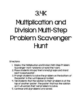 3.4K Multiplication and Division Multi-Step Problem Scavenger Hunt