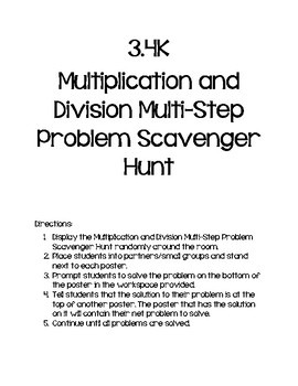 3.4K Multiplication and Division Multi-Step Problem Scavenger Hunt