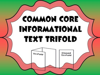 Common Core Trifold For Informational Texts