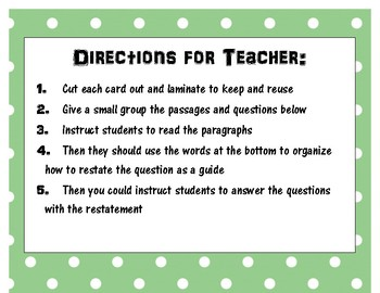 3-5 Restate the Questions Puzzle