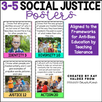 "3-5 Social Justice Posters-Kid Friendly ""I Can""-Anchor Charts"
