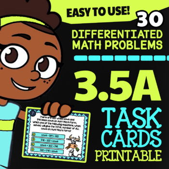 3.5A Add and Subtract with Models: 3rd Grade STAAR Math Review ★ TEKS Task Cards