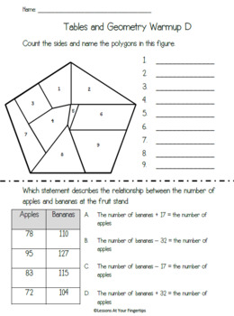 3.5E, 3.6A/B Tables and Geometry Warmups