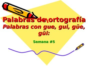 3-5th Grade Spanish Vocabulary - Week 5