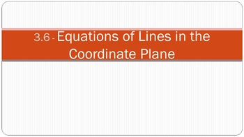 3.6 Equations of Lines in the Coordinate Plane Lesson PowerPoint