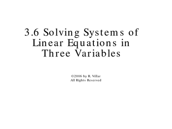 3-6 Three Variable Systems