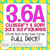 3.6A: Classifying 2D & 3D Solids STAAR Test Prep Task Cards (GRADE 3)
