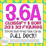 3.6A: Classifying 2D & 3D Solids STAAR Test Prep Task Cards (GRADE 3)