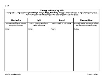 Science TEKS 3.6A Energy Student Organizer