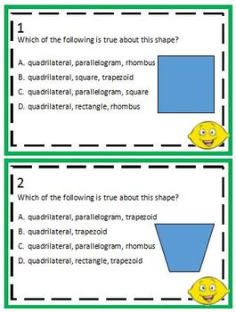 3.6B Quadrilaterals Task Cards - free sample