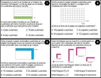 3.6C Determining the Area of Rectangles w/Whole Numbers - SPANISH ONLY