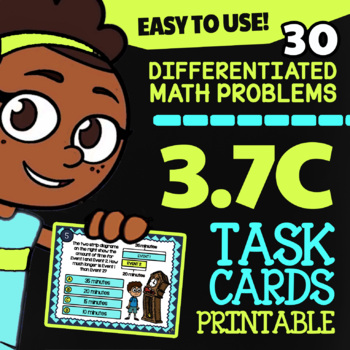 Math TEK 3.7C ★ Elapsed Time Word Problems ★ 3rd Grade Task Cards