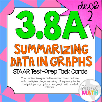 3.8A (DECK 2): Summarizing Data in Graphs STAAR Test Prep Task Cards!