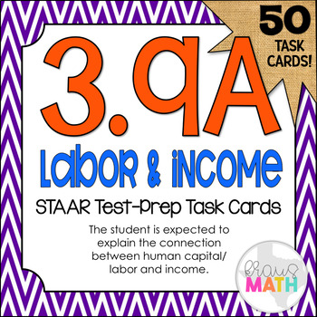 3.9A: Human Capital & Income STAAR Test Prep Task Cards (GRADE 3)