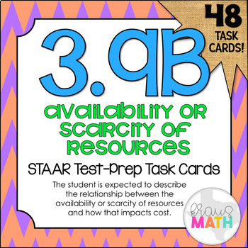 3.9B: Scarcity of Resources STAAR Test-Prep Task Cards (GRADE 3)