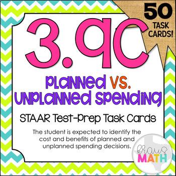 3.9C: Planned vs. Unplanned Spending STAAR Test Prep Task Cards (GRADE 3)