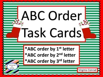 Alphabetical Order Centers--3 levels--Christmas Theme