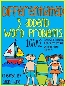 {3 ADDENDS} Differentiated Word Problems {Beach Summer} {FREEBIE}