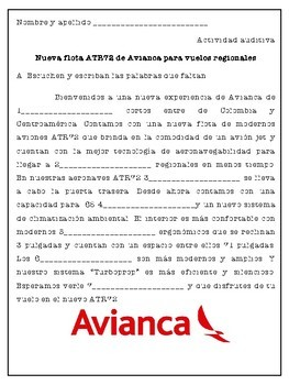 Los aviones de Avianca | 3 activity bundle