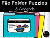 3 Addend Addition / Adding 3 Numbers File Folder Puzzles Winter Sports Theme
