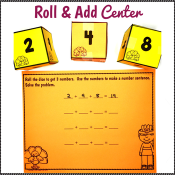 Thanksgiving Math Activities Adding 3 Numbers
